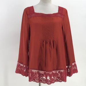 sundance silk blouse dark rust color lace trim M